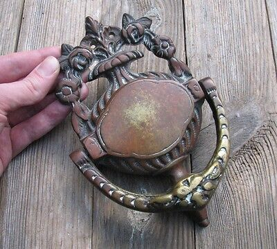 Old Reclaimed Solid Brass Ornate Urn Door Knocker / Vintage