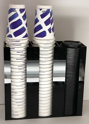 Cup and Lid Holder Dispenser Organizer Counter Top Acrylic Display 3 Compartment