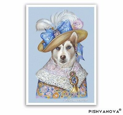 Siberian Husky Art Print - Lady Romance - Dogs in Clothes Prints - Copper Color