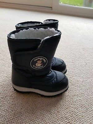 Jojo Maman Bebe Boys Navy In The Snow Boots Size 7 Very Good Clean Condition
