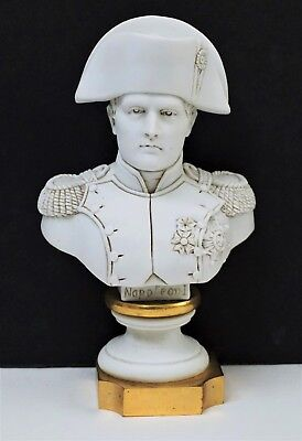 19th c Antique French Bronze & Sevres Bisque Porcelain Bust of Napoleon I