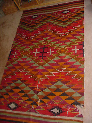 Old Large Important Navajo Indian Transitional Blanket Rug