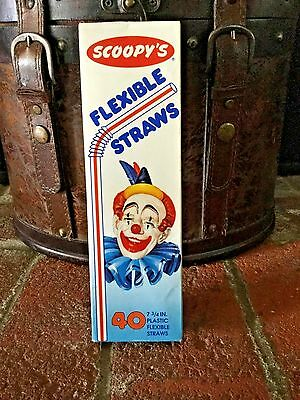 Vintage? Scoopy's Flexable Straws in 40 Count Box Scoopy Clown No Longer Made