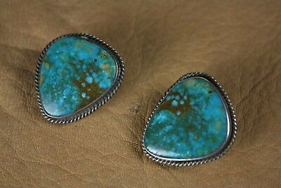 Vintage Navajo Silver and Turquoise Earrings - Clips