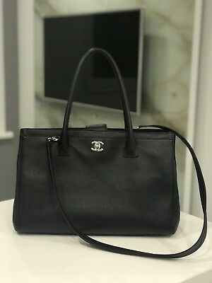 97efb852d46cf4 100% Authentic Chanel Executive Cerf Tote Black Leather Bag Silver Hardware