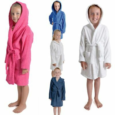 Boys Girls Kids Soft Dressing Gown 100% Cotton Robes Cosy Warm Terry Towelling