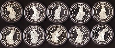 The Queens Beasts Medal Collection in Sterling Silver 10 pieces, 1978 Issue