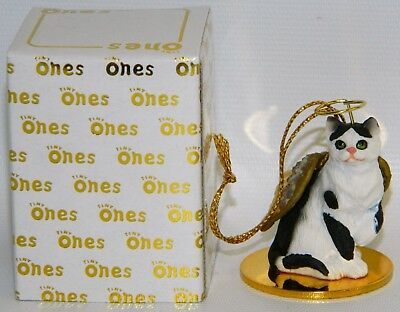 "Black & White Shorthair Cat Figurine Ornament Angel 2"" Mini Figure Tiny Ones"