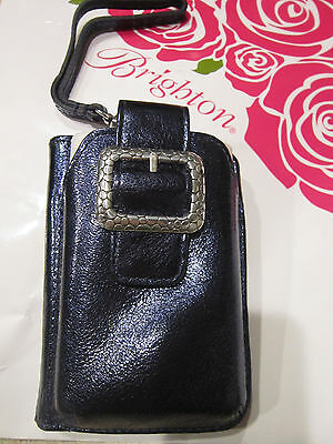 BRIGHTON NWT $70  Pebble Leather Phone Credit Card Case Wristlet MIDNIGHT BLUE