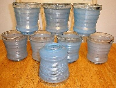 Antique (8) Art Deco Blue Art Glass Lamp / Light Fixture Shades Vintage Parts