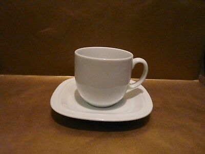 denby white squares large cup / small mug and saucer