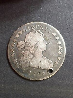 1795 Draped Bust Dollar Holed, Very Rare Circulated Silver Early Coin