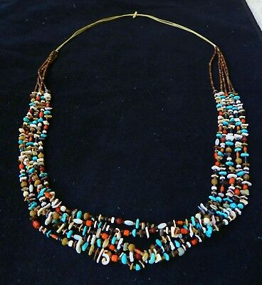 Older Zuni Heishi Necklace Turquoise Trade Beads Coral Shell Vintage Fetish
