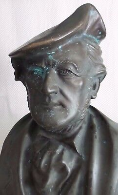 Large Early 20th Century Bronze Bust of Composer Richard Wagner by Hans Wollner