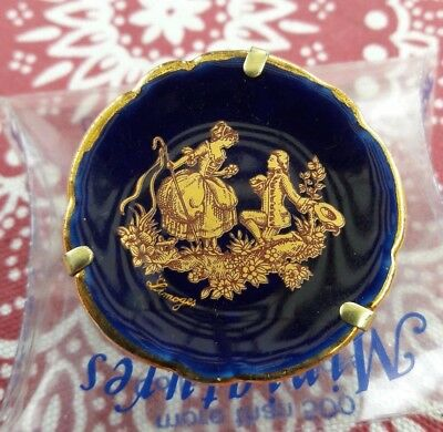 "Limoges Castel Miniatures Cobalt Blue Porcelain Plate. ""The Proposal"" with stand"
