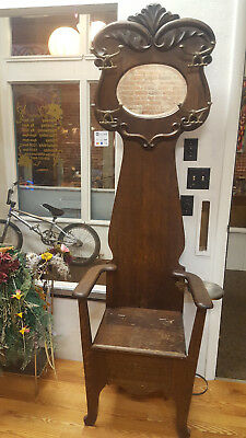 Antique, Dark Oak Hall Tree with storage seat & removable ash tray