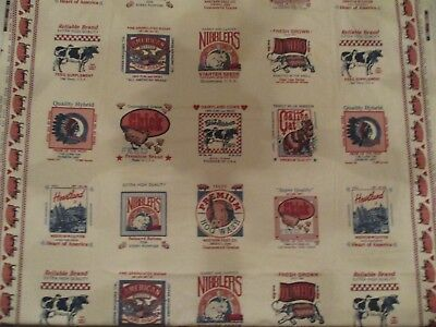 Vintage Farm Animal Feed Labels Fabric Concord Fabrics Joan Kessler Lot of 2