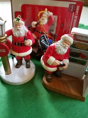 4 COKE ORNAMENTS lot Coca-Cola SANTA CLAUS 2 light up never used