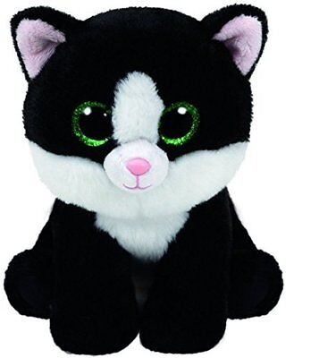 "Ty Beanie Baby Boo AVA Black & White Cat 6""  New w/ Tags Green Glitter Eyes 2016"