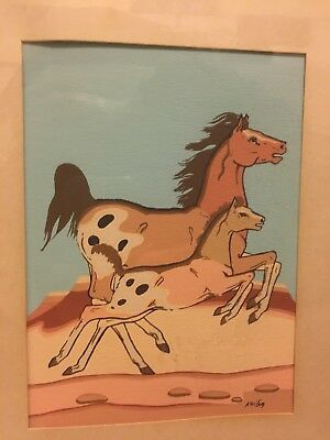 2 Vintage Framed silkscreen prints by renowned Zuni artist Percy Sandy Kai-Sa
