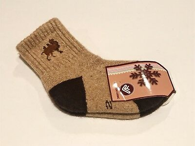 Kids Camel Wool Blend Socks Warm Brown For 2-3 years old NWT Made In Mongolia