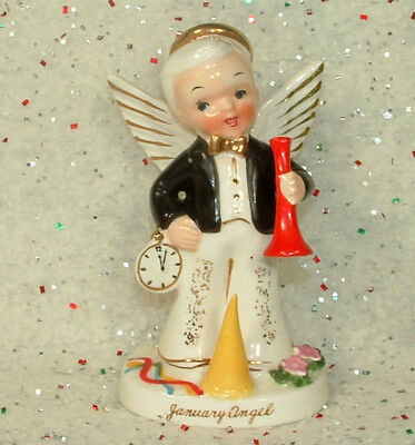 Vtg 1956 Napco January Birthday Month Angel Boy Figurine A1917 New Years Clock