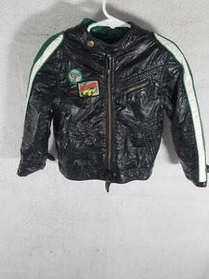 H&M Toddler 3-4 Years 4T Black Green Racing Motorcycle Leather Bomber Jacket 3T