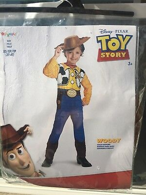 Woody Toy Story Boy Costume with Hat 3T 4T Extra Small Cute Used Once Halloween