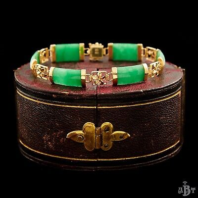 Antique Vintage Art Deco 14k Gold Chinese Carved Imperial Jade Jadeite Bracelet