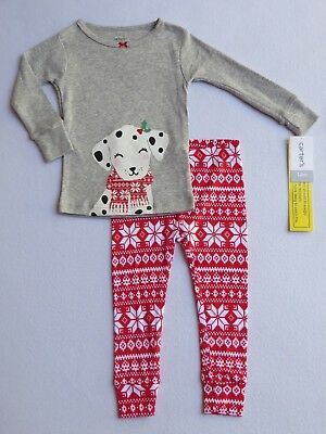 NWT CARTER'S Girls Size 12 months Christmas 2-Pc Cotton Pajama Set DOG Red Gray