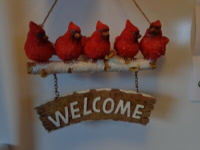 Cardinal Wall Hanging Welcome Sign