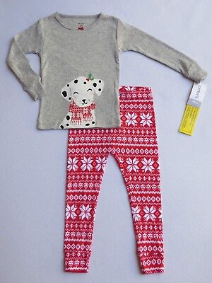 NWT CARTER'S Girls Size 24 months Christmas 2-Pc Cotton Pajama Set DOG Red Gray