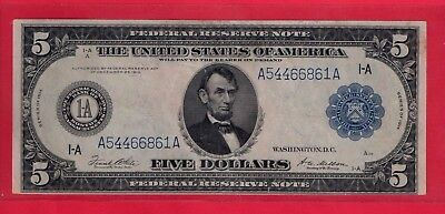 ***   1914  $5.00  Fed Res Note From Boston District Nice   ***