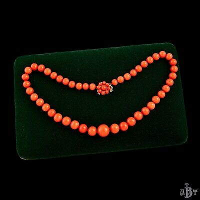 Antique Vintage Art Deco 14k Gold Chinese Carved Momo Salmon Coral Bead Necklace