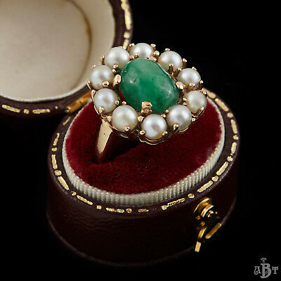 Antique Vintage Art Deco 14k Gold Colombian Emerald Akoya Pearl Ring Sz 4.25