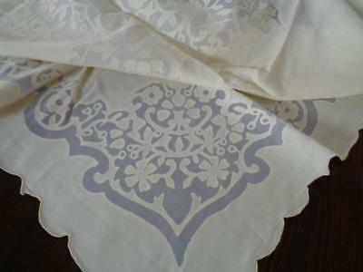 Stunning Vintage Leron Yellow / White Appliqued / Cutwork Madeira Tablecloth -