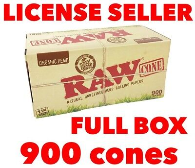 RAW Organic pre-rolled cone 1 1/4 Size with FULL BOX 900 cones 100% AUTHENTIC