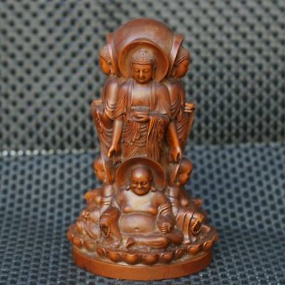 Chinese Exquisite Hand-carved Buddha Maitreya carving Boxwood statue