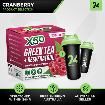 Tribeca Health X50 Green Tea | 60 Serves Cranberry | Detox Fat Burning Free Gift