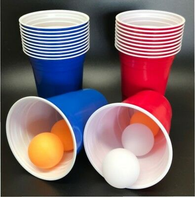 Beer Pong Set Red V Blue Drinking Game Party Cups Set Plastic Cups w Balls