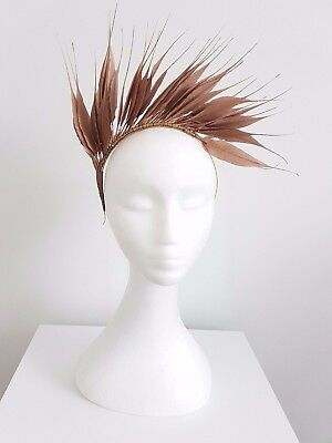 Womens spike feather headband fascinator in Rose Gold