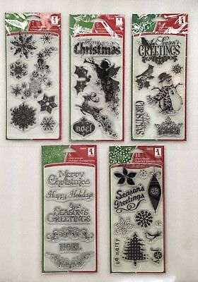 Inkadinkado Christmas Clear Stamps Angel Snowman Tree Joy Snowflakes - choose