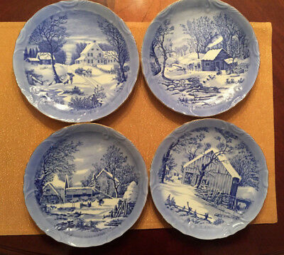 Vintage Lot of 4 Currier & Ives Blue and White Christmas Winter Plate Japan