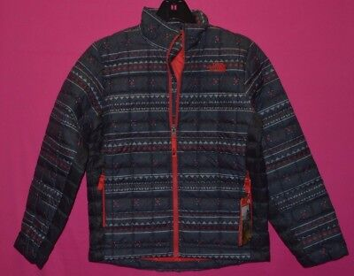 North Face Boy's Youth Thermoball Jacket Full Zip PrimaLoft M 10/12 Red Black