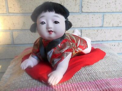 Vintage Japanese Child Doll Lying On Stomach Just Learning To Crawl!  Cute!
