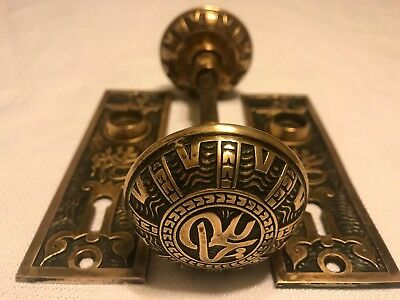 1 set fancy antique brass door knobs with door plates Mallory Wheeler Victorian