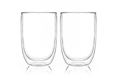 NEW Pyrex Double Wall Glass Cup Twin Pack 400ml