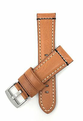Shoptictoc 24mm Tan Italian Leather Watch Band, Double Stitch (BN820s)