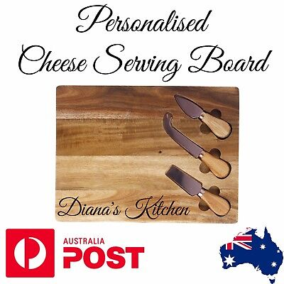 Personalised Custom Acacia Timber/Wooden Rustic Cheese Serving Board & Knife Set
