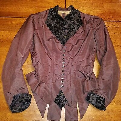 Antique 1880s Victorian Silk Bustle Bodice Flocked Velvet 32 Bust 26 Waist